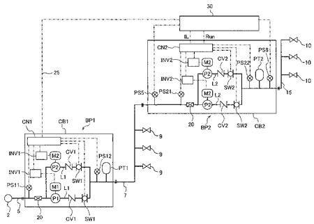 給水栓から空気の吸込みを防止する増圧給水のシステム