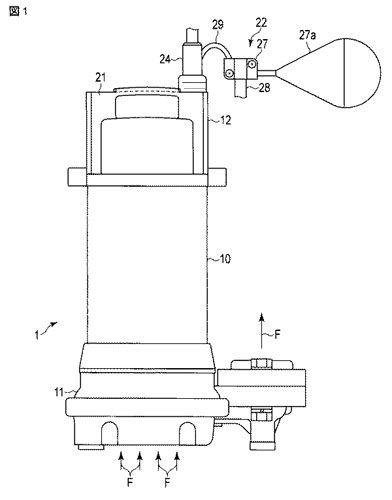 【図1】本発明の第1の実施形態に係る水中ポンプの構成を示す側面図。