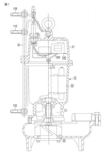 【図1】本発明の一実施の形態に係る水中ポンプ制御装置が組み込まれた水中ポンプ装置を示す断面